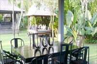 Indonesia Bali Villa Guru dining area and garden