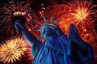 USA Statue of Liberty with fireworks
